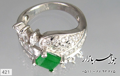 انگشتر جید آب رودیومسفید زنانه - تصویر 4