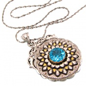 مدال توپاز آبی دست ساز شمسه زنانه