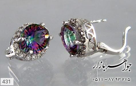 گوشواره توپاز هفت رنگ درشت زنانه - تصویر 2