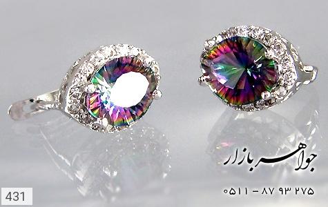 گوشواره توپاز هفت رنگ درشت زنانه - تصویر 4