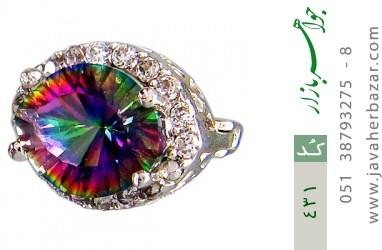 گوشواره توپاز هفت رنگ درشت زنانه - کد 431