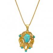 مدال فیروزه نیشابوری طرح زیرخاکی درشت زنانه