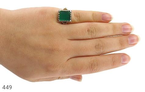 انگشتر عقیق سبز 4 گوش - عکس 7