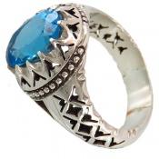 انگشتر توپاز آبی سلطنتی مردانه