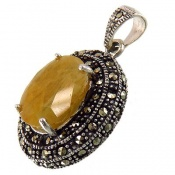 مدال مارکازیت و یاقوت زرد درشت زنانه
