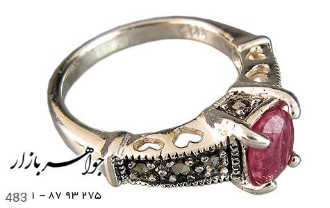 انگشتر یاقوت سرخ طرح قلب زنانه - عکس 1