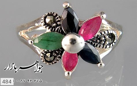 انگشتر یاقوت و زمرد طرح گل زنانه - تصویر 2