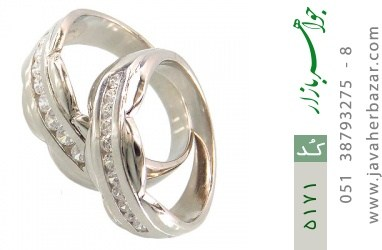 حلقه ازدواج نقره طرح همدم - کد 5171