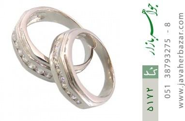 حلقه ازدواج نقره طرح غزل - کد 5172