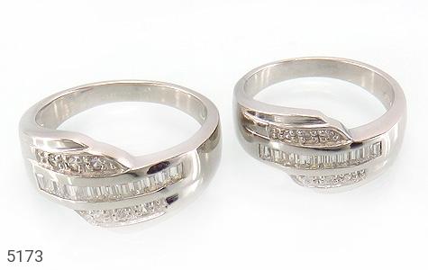 حلقه ازدواج نقره جواهری درشت - عکس 1