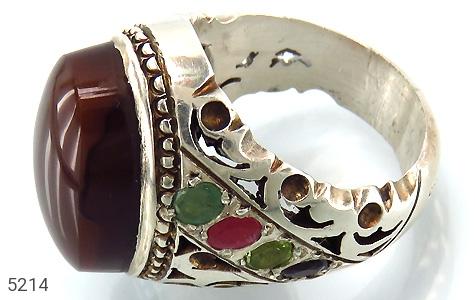 انگشتر عقیق و یاقوت و زمرد و زبرجد یمن رکاب دست ساز - عکس 1