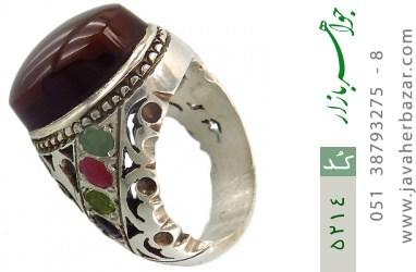 انگشتر عقیق و یاقوت و زمرد و زبرجد یمن رکاب دست ساز - کد 5214