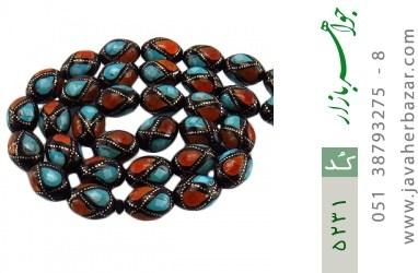 تسبیح کوک (کشکول) و کهربا و فیروزه 33 دانه درشت مرصع مصری - کد 5231