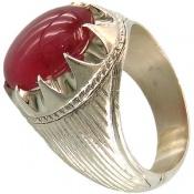 انگشتر یاقوت سرخ آفریقایی دامله خوش رنگ و فاخر مردانه