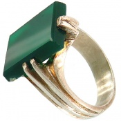 انگشتر عقیق سبز مستطیلی دست ساز