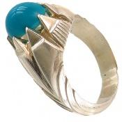 انگشتر فیروزه آمریکایی آبی خوش رنگ یکدست مردانه