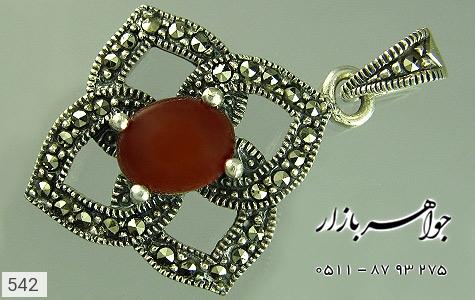 مدال عقیق طرح گل 4 پر زنانه - عکس 3