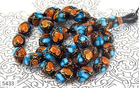 تسبیح فیروزه و کهربا و کوک (کشکول) 33 دانه هلی درشت مرصع - تصویر 2