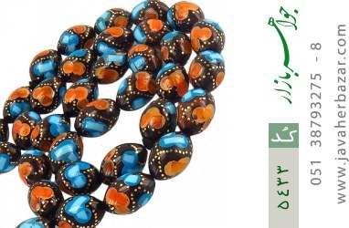 تسبیح فیروزه و کهربا و کوک (کشکول) 33 دانه هلی درشت مرصع - کد 5433