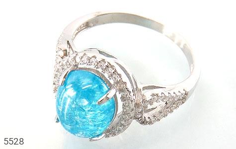 انگشتر نقره اپال سنتاتیک آبی زنانه - عکس 1