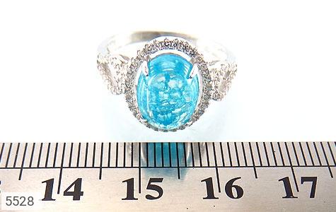 انگشتر نقره اپال سنتاتیک آبی زنانه - عکس 5