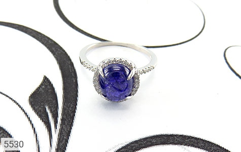 انگشتر نقره اپال آبی سنتاتیک زنانه - عکس 5