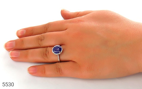 انگشتر نقره اپال آبی سنتاتیک زنانه - عکس 7