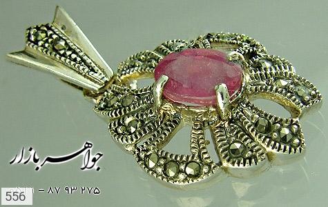 مدال یاقوت سرخ طرح گل زنانه - تصویر 2