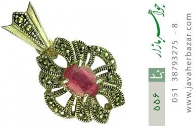 مدال یاقوت سرخ طرح گل زنانه - کد 556