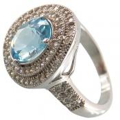 انگشتر توپاز آبی درشت سلطنتی زنانه