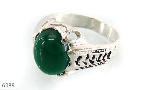 انگشتر عقیق سبز خوش رنگ مردانه - عکس 1
