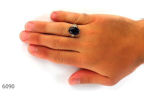 انگشتر عقیق سیاه رکاب چهارچنگ مردانه - عکس 5