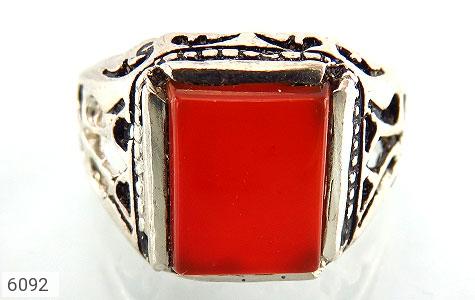 انگشتر عقیق قرمز چهارگوش رکاب شبکه - تصویر 2