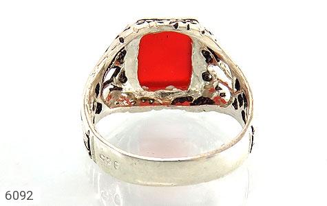 انگشتر عقیق قرمز چهارگوش رکاب شبکه - تصویر 4