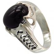 انگشتر عقیق سیاه خوش رنگ رکاب اسپرت
