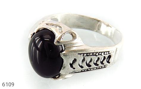 انگشتر عقیق سیاه خوش رنگ رکاب اسپرت - عکس 1