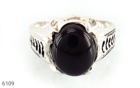 انگشتر عقیق سیاه خوش رنگ رکاب اسپرت - تصویر 2