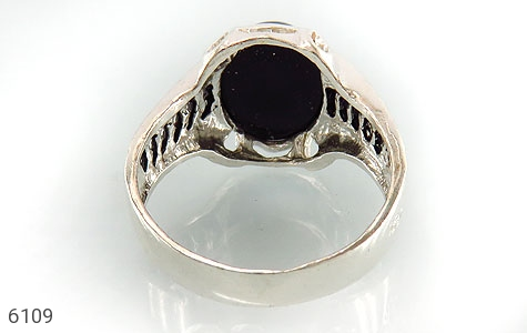 انگشتر عقیق سیاه خوش رنگ رکاب اسپرت - عکس 3