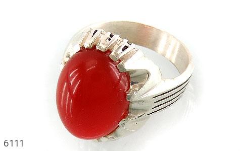 انگشتر عقیق سرخ درشت مردانه - عکس 1