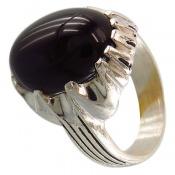 انگشتر عقیق سیاه درشت و خوش رنگ مردانه