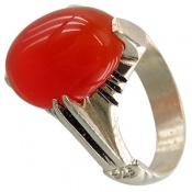 انگشتر عقیق سرخ خوش رنگ رکاب چهارچنگ