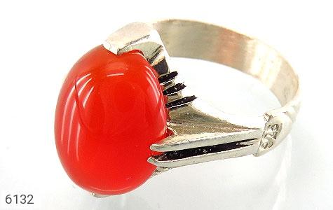انگشتر عقیق سرخ خوش رنگ رکاب چهارچنگ - عکس 1