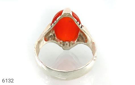 انگشتر عقیق سرخ خوش رنگ رکاب چهارچنگ - عکس 3