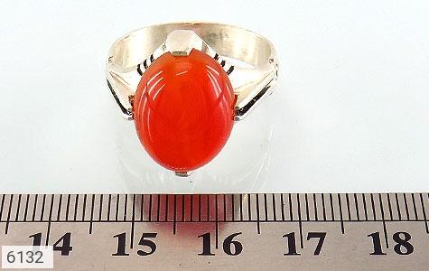 انگشتر عقیق سرخ خوش رنگ رکاب چهارچنگ - تصویر 4
