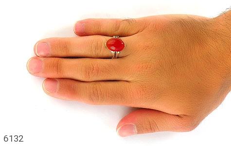 انگشتر عقیق سرخ خوش رنگ رکاب چهارچنگ - تصویر 6