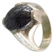 انگشتر حدید سینی 7 جلاله درشت دست ساز مردانه