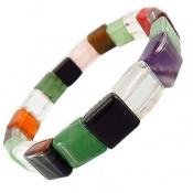 دستبند چندنگین سنگ درمانی طرح مربعی زنانه