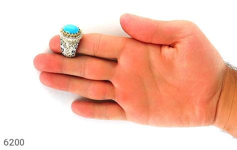 انگشتر فیروزه نیشابوری لوکس هنر دست استاد نامی - تصویر 8