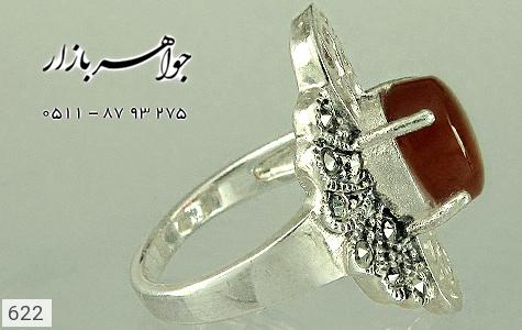 انگشتر عقیق رکاب 2رنگ زنانه - عکس 3