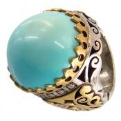 انگشتر الماس و فیروزه نیشابوری خارق العاده و کلکسیونی مردانه